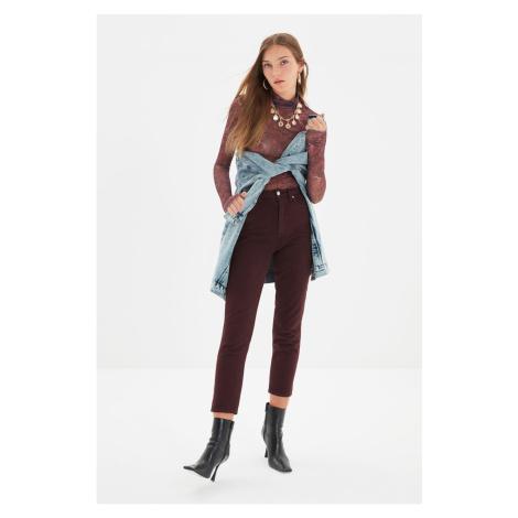Trendyol Burgundy High Waist Mom Fit Jeans