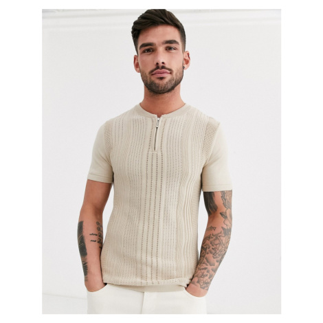 River Island knitted turtle neck t-shirt in stone