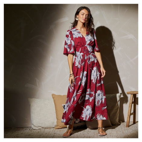 Blancheporte Dlouhé rozšířené šaty s potiskem květů červená