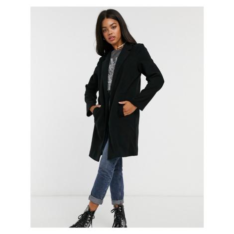 Stradivarius knit coat in black