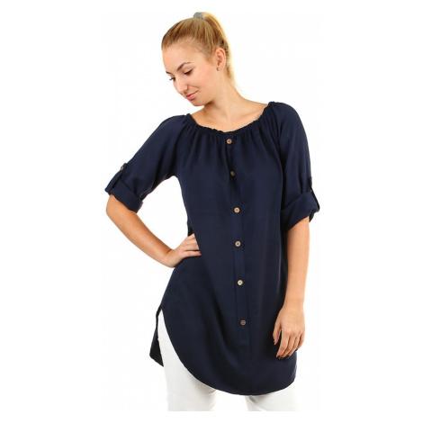 Dámské volné košilové šaty s 3/4 rukávem