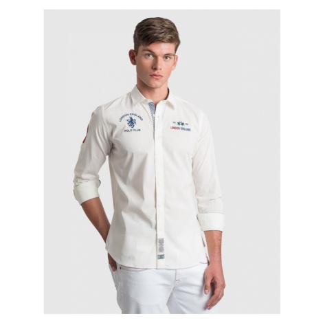 Košile La Martina Man Shirt L/S Poplin Stretch - Bílá