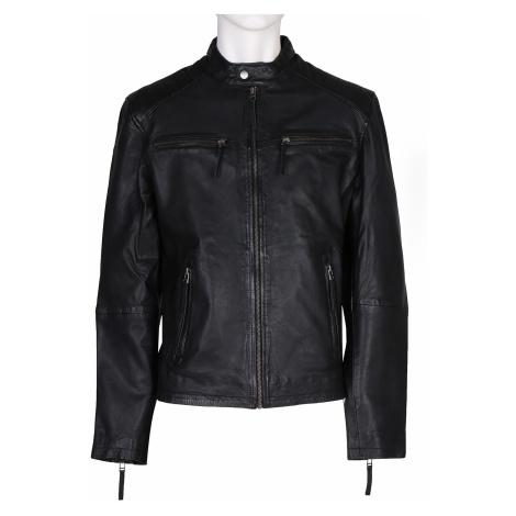 Černá kožená pánská bunda Baťa