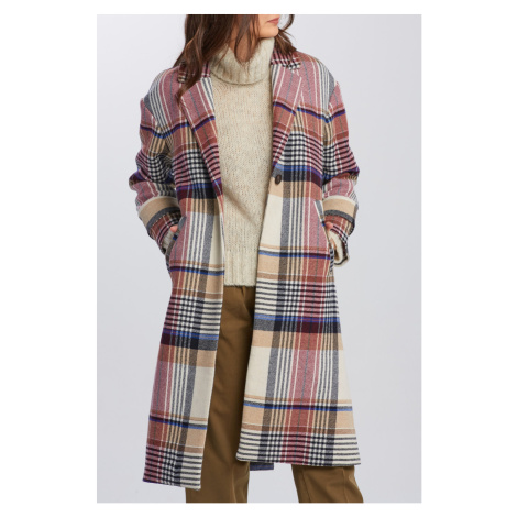 KABÁT GANT D1. CHECKED WOOL BLEND OVERCOAT