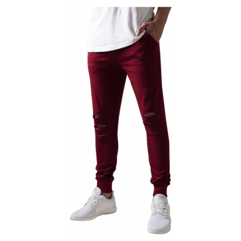 Cutted Terry Pants - burgundy Urban Classics