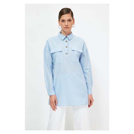 Trendyol Blue Shirt Collar Hijab Tunic