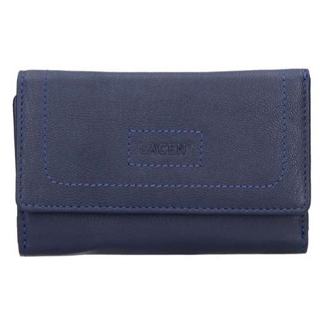 Dámská kožená peněženka Lagen Debora - modrá