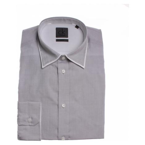 Calvin Klein pánská šedá košile s lemovaným límečkem