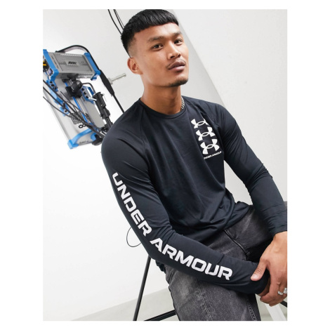 Under Armour Tech triple logo long sleeve top in black