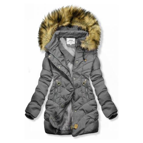 Šedá prošívaná bunda na podzim/zimu Butikovo