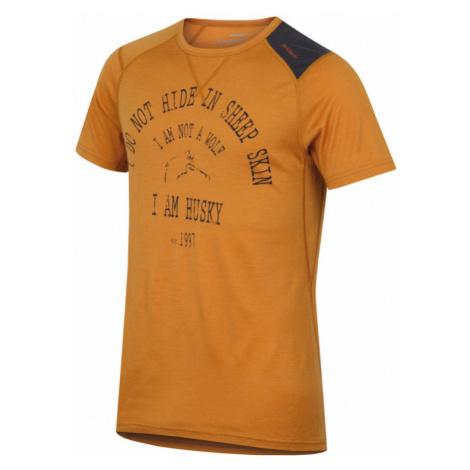 Pánské funkční triko HUSKY Merino 100 krátký rukáv WOLF hnědooranžová