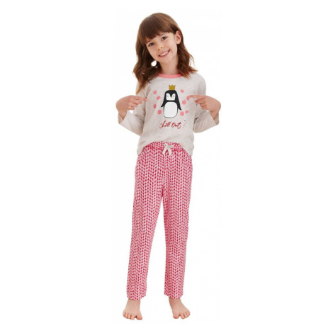 Taro Dívčí pyžamo Maja béžové tučňák