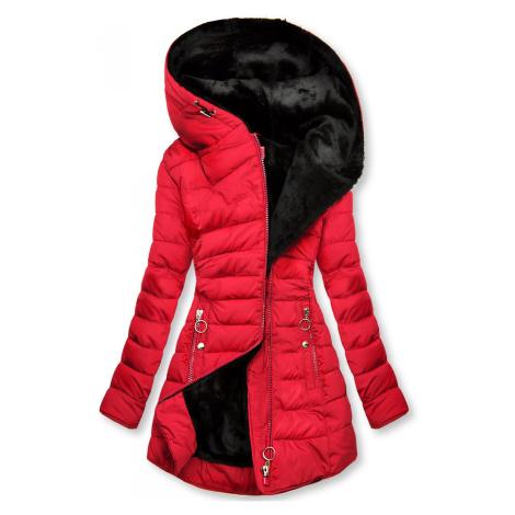 Červená prošívaná bunda s černou plyšovou podšívkou Butikovo