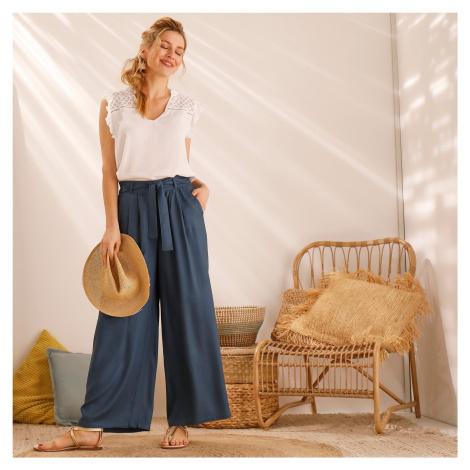 Blancheporte 7/8 široké kalhoty s páskem na zavázání modrá tyrkysová