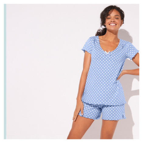 Blancheporte Pyžamo se šortkami, potisk puntíků modrošedá