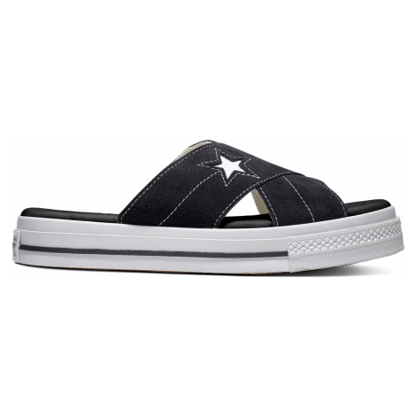 Converse černé kožené pantofle na platformě One Star Sandal Slip Black