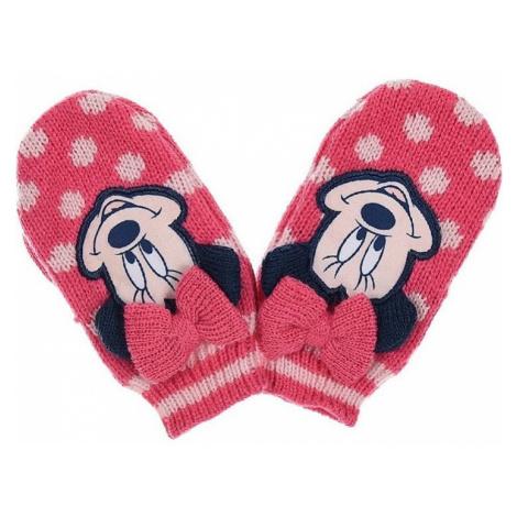 Minnie mouse růžové puntíkované rukavice Disney