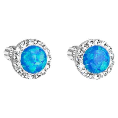 Stříbrné náušnice pecky se syntetickým opálem a Preciosa krystaly modré kulaté 31317.1