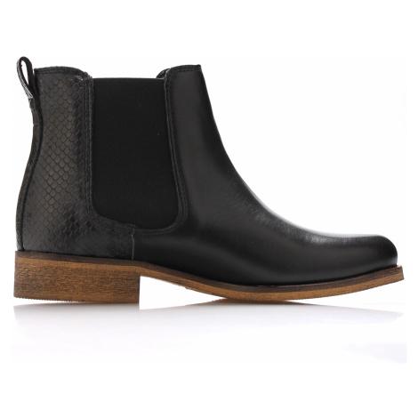 Černé kožené boty pérka Online Shoes