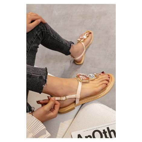 Světle růžové nízké sandály s ozdobnými kamínky Alessandra Erynn