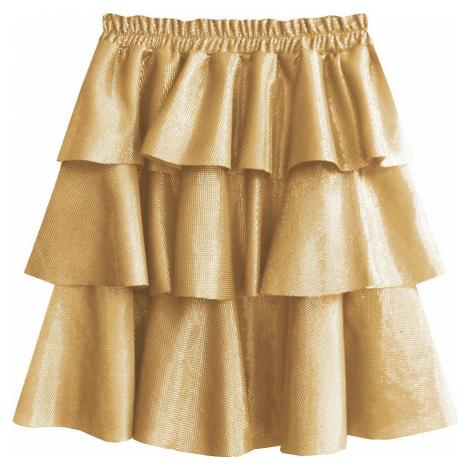 Zlatá lesklá mini sukně (508ART) Made in Italy