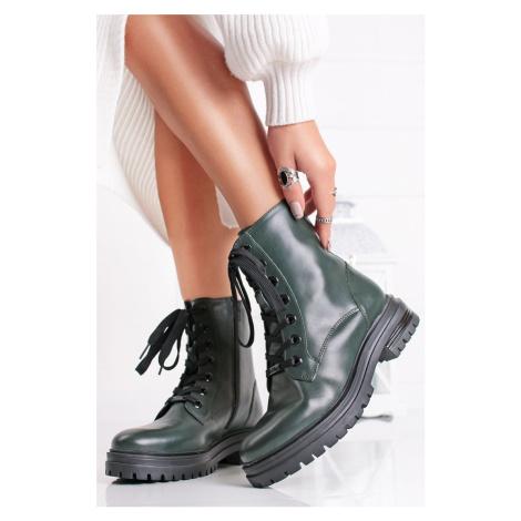 Tmavě zelené kožené kotníkové boty 5-25253 s.Oliver