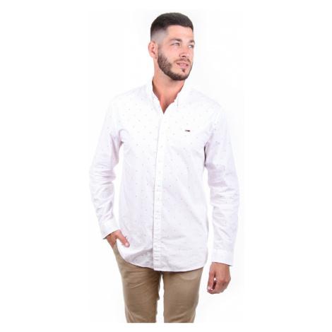 Tommy Jeans pánská bílá košile Ditsy se vzorem Tommy Hilfiger