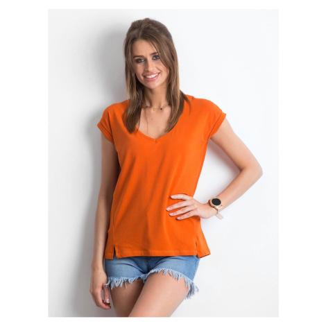 Dark orange V-neck cotton t-shirt Fashionhunters