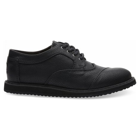 BROGUE-Black Synthetic Leather YOUTH Toms