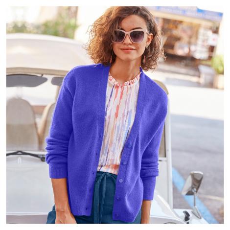 Blancheporte Jemný svetr na knoflíky fialová