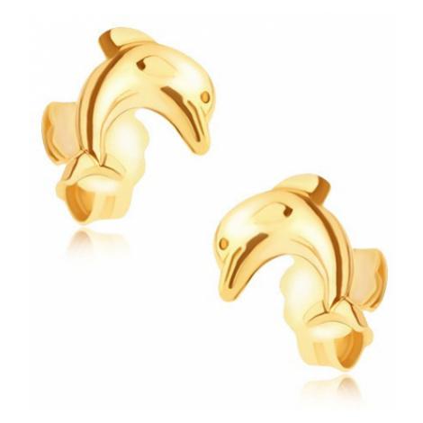 Zlaté puzetové náušnice 14K - skákající delfín