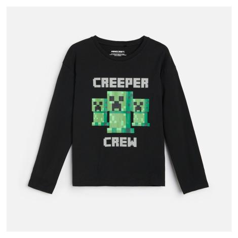 Reserved - Tričko s dlouhými rukávy a potiskem Minecraft - Černý