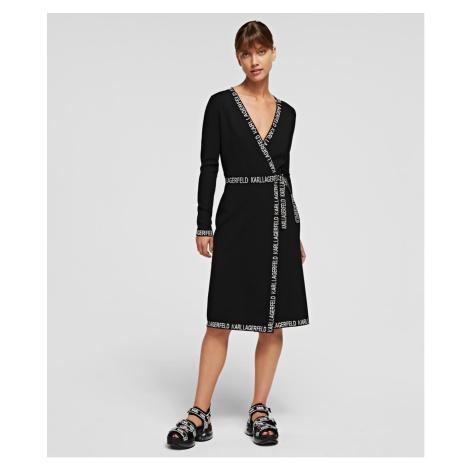 Šaty Karl Lagerfeld Logo Tape Wrap Knit Dress - Černá