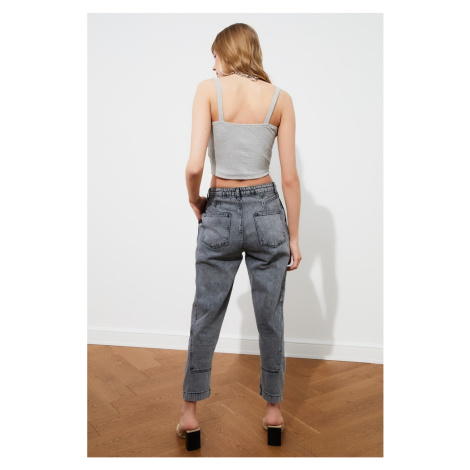 Trendyol High Waist Mom Jeans WITH Grey Waist DetailING