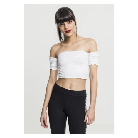 Ladies Cropped Cold Shoulder Smoke Top - white Urban Classics