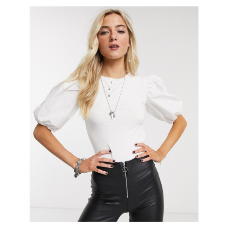 Bershka poplin sleeve t-shirt in white