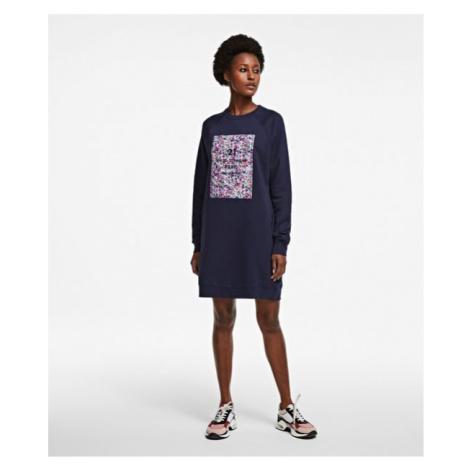 Šaty Karl Lagerfeld Floral Address Logo Sweatdress - Modrá