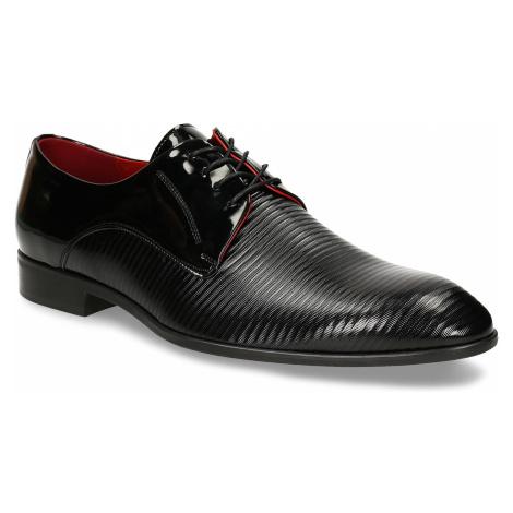 Pánská kožená společenská obuv se stylovou červenou podšívkou Conhpol