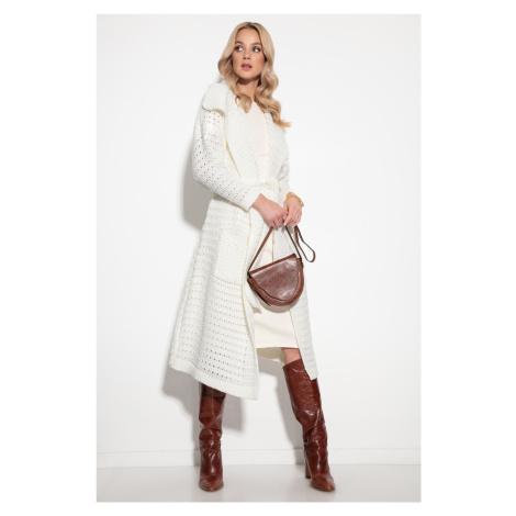 Dlouhý pletený kabát s vlnou