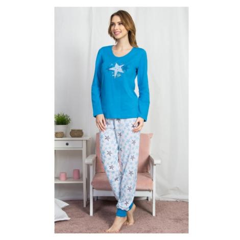Dámské pyžamo dlouhé My star, XL, modrá Vienetta Secret