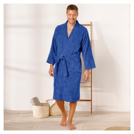 Blancheporte Jednobarevný župan s kimono límcem tmavě modrá