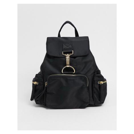 ASOS DESIGN nylon backpack with dog clip detail in black