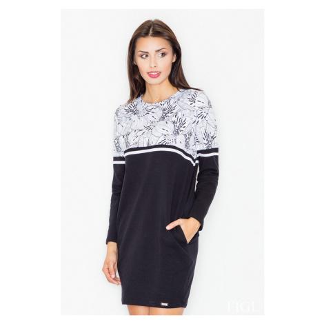 Černo-bílé květované šaty M510 Figl