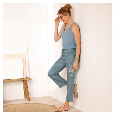 Blancheporte 7/8 kalhoty s výšivkou šedozelená