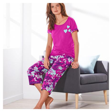Blancheporte Bavlněné pyžamo se 3/4 kalhotami a potiskem květin purpurová