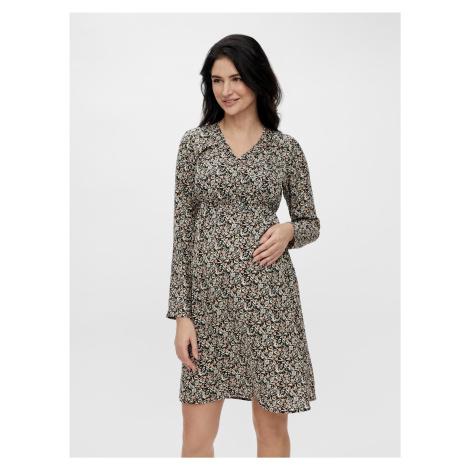 Černé květované těhotenské/kojicí šaty Mama.licious Phina Mama Licious
