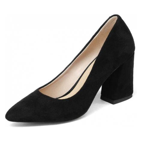 Semišové lodičky elegantní společenské boty na hranatém podpatku