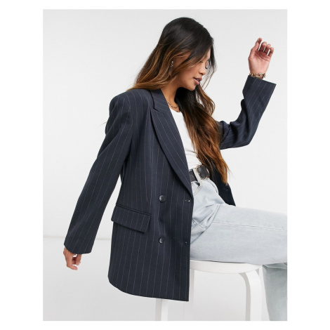 Selected Femme double breasted blazer in pinstripe-Multi