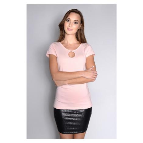Tričko s broží na zádech barva pudrově růžová