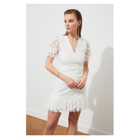 Trendyol Ecru Neck Detail Polka veil Dress